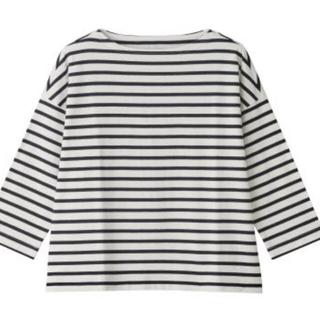 MUJI (無印良品) - 太番手天竺編みドロップショルダーTシャツ(七分袖) 婦人M〜L 白×ネイビー