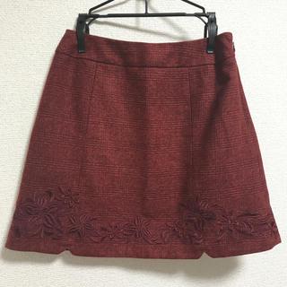 リランドチュール(Rirandture)のリランドチュール 台形刺繍ミニスカート ボルドー SS(ミニスカート)