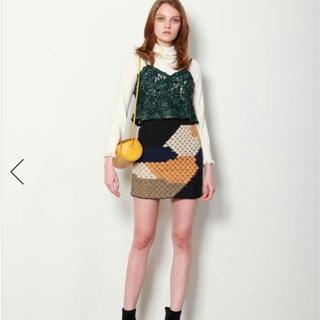 リリーブラウン(Lily Brown)の【リリーブラウン】かぎ針カラーブロックスカート(ミニスカート)