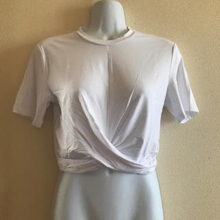 エイチアンドエム(H&M)のH&M ウエスト ツイスト Tシャツ ホワイト 白 セクシー ショート丈 S(Tシャツ(半袖/袖なし))