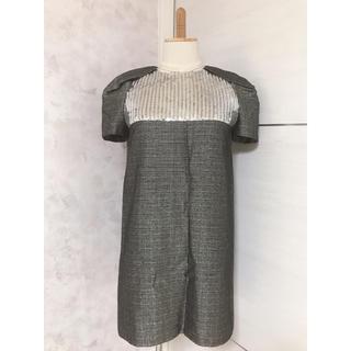 サンローラン(Saint Laurent)のSAINT LAURENT PARIS  羊毛×シルク スパンコールワンピース (ミニワンピース)