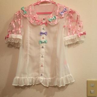 アンジェリックプリティー(Angelic Pretty)のアンジェリックプリティDrem showerシフォン半袖ブラウス白色(シャツ/ブラウス(半袖/袖なし))