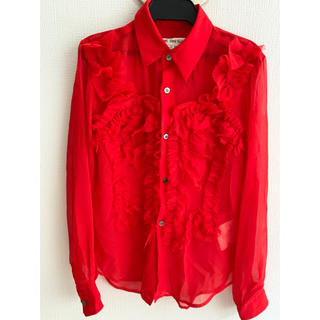 コムデギャルソン(COMME des GARCONS)のコムデギャルソン シースルーフリルシャツ赤(シャツ/ブラウス(長袖/七分))
