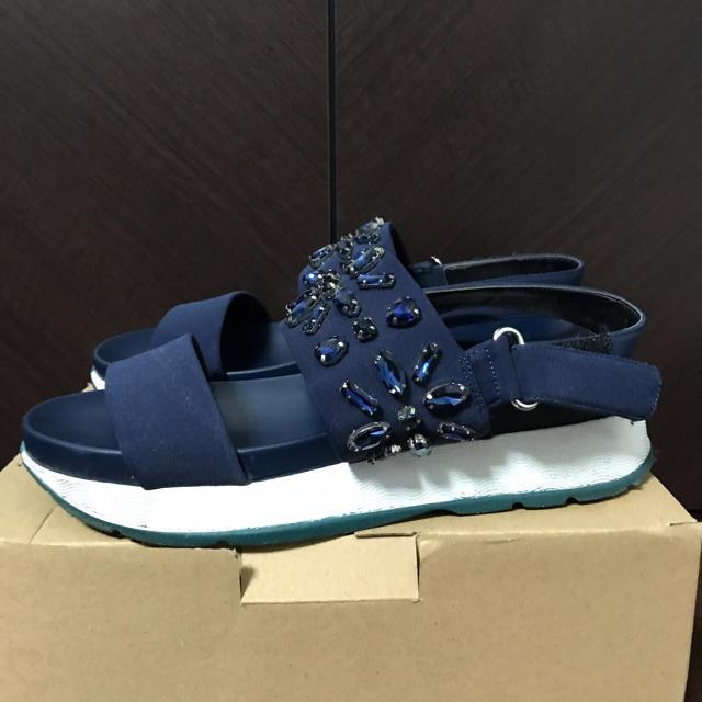 ZARA(ザラ)の箱あり ZARA ビーズ付きプラットフォームサンダル レディースの靴/シューズ(サンダル)の商品写真