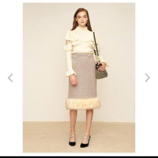 リリーブラウン(Lily Brown)の新品 リリーブラウン フェイクファー スカート ベージュ サイズ0(ひざ丈スカート)