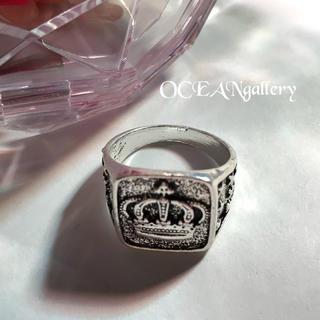 送料無料 13号 シルバークラウンリング 指輪 キング女王王冠 シグネットリング(リング(指輪))