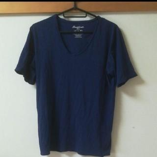 Vネック Tシャツ メンズ ブルー サイズXL(Tシャツ/カットソー(半袖/袖なし))