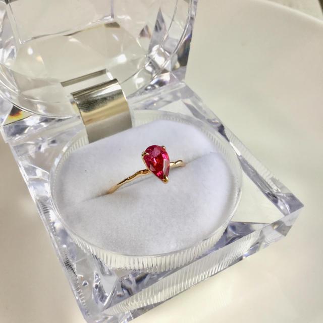 agete(アガット)のCloche(クロッチェ)K10YGピンクトルマリン リング レディースのアクセサリー(リング(指輪))の商品写真