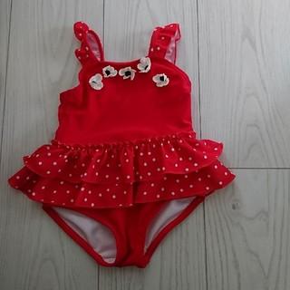 プティマイン(petit main)の新品 未使用 女の子 赤い 水着 サイズ80 (水着)
