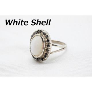 【R-409】天然石 ホワイトシェル 貝 デザイン リング 指輪 10号相当(リング(指輪))