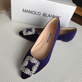マノロブラニク(MANOLO BLAHNIK)のMANOLOBLAHNIKマノロブラニクハンギシパープルブルーフラット37(ハイヒール/パンプス)