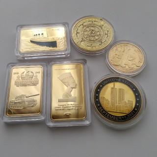 貴重!パンダ金貨、9.11金貨、タイタニック金貨(ゴールドバー)等金貨メダル6枚(貨幣)