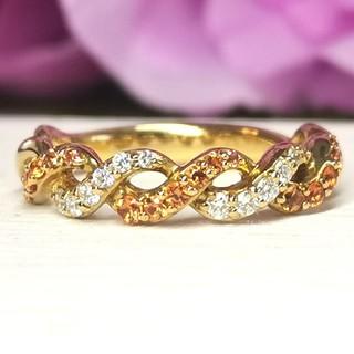 オレンジサファイアとダイヤモンド♡K18ツイストリング(リング(指輪))