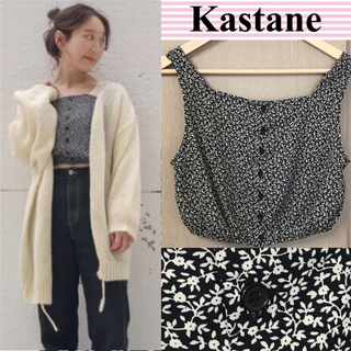 Kastane - KASTANE 単色花柄プリントビスチェ 黒 小花 キャミソール タンクトップ