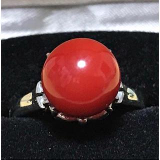 値下げ! 天然血赤珊瑚 プラチナ ダイヤモンド リング ケース付き(リング(指輪))