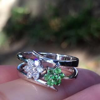 750(18WG)   グリーンガーネット  ダイヤモンド  の煌めき リング(リング(指輪))