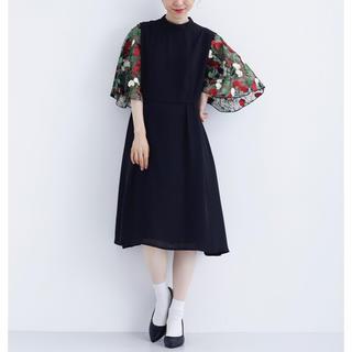 merlot - 花刺繍レース袖 ワンピース ドレス merlot plus