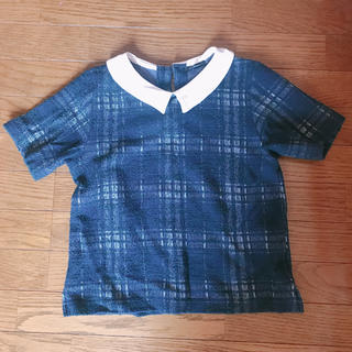 ローズバッド(ROSE BUD)のRose bud 襟付きチェックトップス(カットソー(半袖/袖なし))