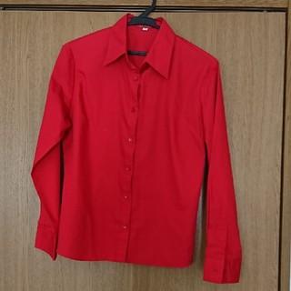 赤 ブラウス ポリエステル65%綿35% LLサイズ(シャツ/ブラウス(長袖/七分))