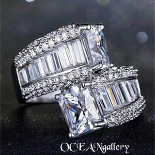 送料無料 11号 シルバークリアスーパーCZダイヤモンドインフィニティリング指輪(リング(指輪))