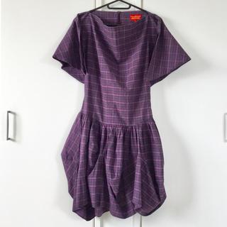 ヴィヴィアンウエストウッド(Vivienne Westwood)のVivienne紫チェック変形デザインミニワンピース 希少REDLABEL(ミニワンピース)