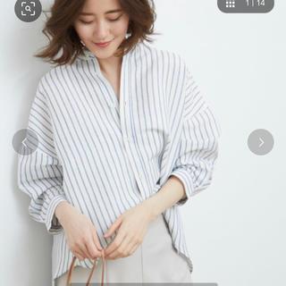 ロペピクニック(Rope' Picnic)の【カシュクールストライプシャツ】ホワイト sizeM 38(シャツ/ブラウス(長袖/七分))