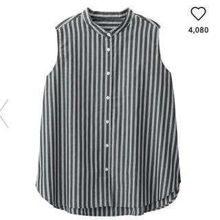ジーユー(GU)の1回着用 美品◆ GU ストライプバンドカラーシャツ サイズS ◆送料込(シャツ/ブラウス(半袖/袖なし))