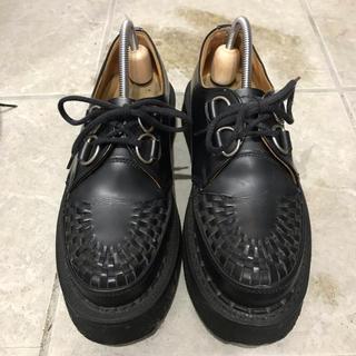 ジョージコックス(GEORGE COX)のジョージコックス ギブソン 黒レザー UK5 ラバーソール GEORGE COX(ローファー/革靴)