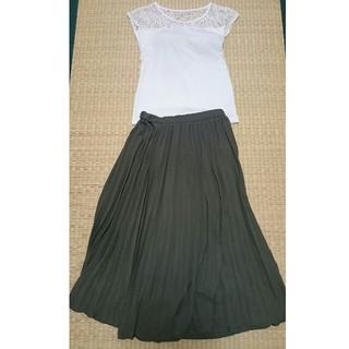 GU - GUのプリーツスカート、カーキ色、サイズM