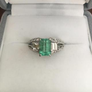 ダイヤモンド×エメラルドリング Pt900 1.45ct 0.83ct 7.5g(リング(指輪))
