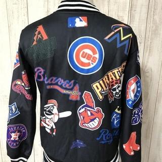 【ほぼ美品】【MLB】supremeat メジャーリーグ 総ロゴ フルデコジャケ