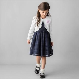 プティマイン(petit main)のプティマイン petit mainコサージュ付ワンピース&ジャケットセット120(ドレス/フォーマル)