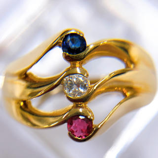 K18 ルビー サファイア ダイヤモンド マルチリング(リング(指輪))