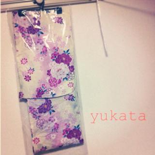 浴衣   生成×紫 牡丹と小花(浴衣)
