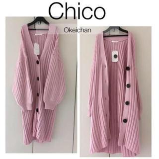 who's who Chico - 新品タグ付き☆デカボタンモモンガロングカーディガン ピンク