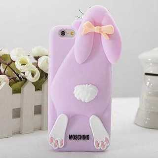 スマホケース パープル 立体 うさぎ iPhone6 シリコン かわいい 保護