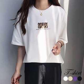 Tシャツトップス 半袖 カットソー 体型カバー レオパード プリント(Tシャツ(半袖/袖なし))