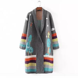 ツモリチサト(TSUMORI CHISATO)の新品 フォレストアップリケ  ニット編み ロング カーディガン コーディガン(カーディガン)