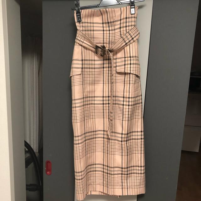 FRAY I.D(フレイアイディー)のフレイアイディー  ハイウエストタイトスカート チェック 0 レディースのスカート(ロングスカート)の商品写真