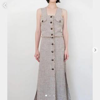フィーニー(PHEENY)のpheeny 19ss linen long check skirt 新品未使用(ロングスカート)