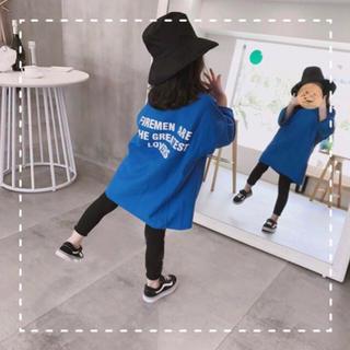 BIGシャツ120青+120黒レギンス(ワンピース)