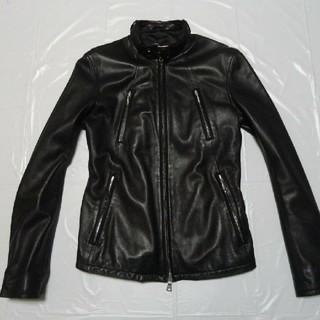 SHIPS - 希少 高級 美品◆シップス レザージャケット 黒S◆ライダース革ジャン ブルゾン