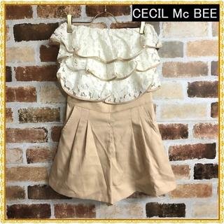 セシルマクビー(CECIL McBEE)の【CECIL Mc BEE】レースフリルベアトップロンパース(その他)