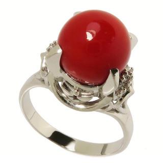 【赤珊瑚9.7mm/ダイヤモンド計0.08ct】指輪/リング Pt900(リング(指輪))