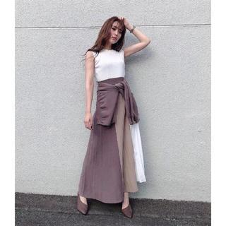 rienda - rienda  Color Block Pleat Knit OP  新品