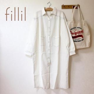 メルロー(merlot)のフィリル fillil 配色ステッチ ビッグ シャツワンピース 白(ロングワンピース/マキシワンピース)