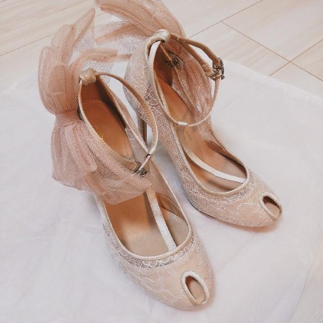 GRACE CONTINENTAL(グレースコンチネンタル)のお値下げ★グレースコンチネンタル レース オープントゥ パンプス 36サイズ レディースの靴/シューズ(ハイヒール/パンプス)の商品写真