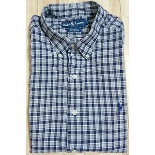 ラルフローレン(Ralph Lauren)の【Ralph Louren】(XS?)チェック長袖シャツ 薄いグレー×紺(シャツ)