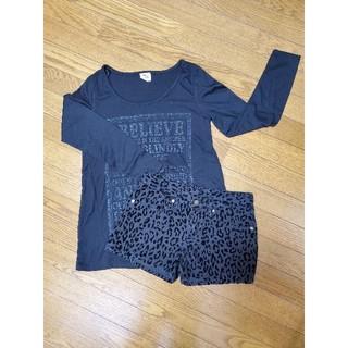 ジーユー(GU)の超美品 セットコーデ ブラック(Tシャツ(長袖/七分))