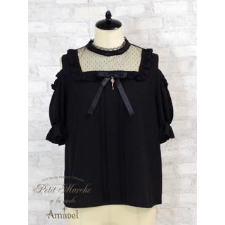 アマベル(Amavel)のデコルテチュール切替 肩あきブラウス 黒(シャツ/ブラウス(半袖/袖なし))